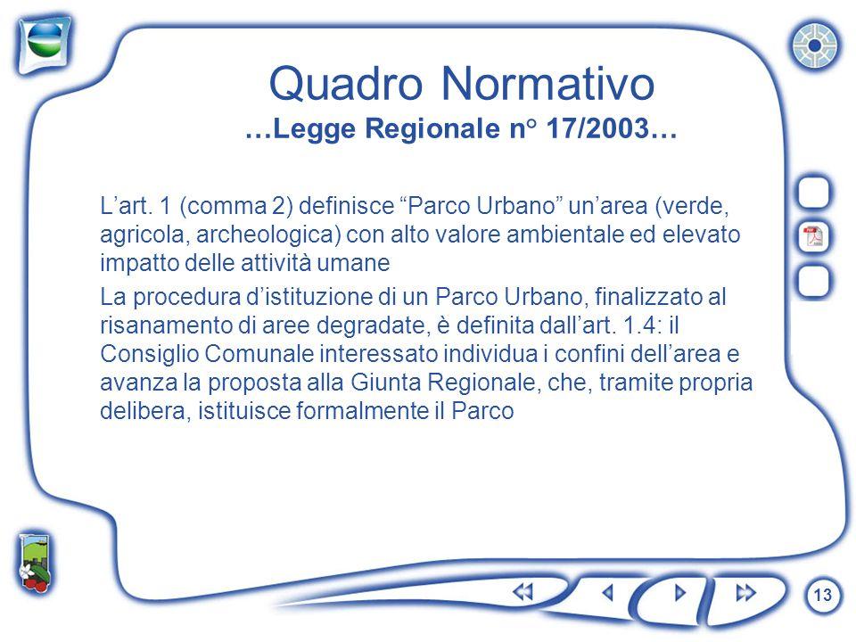 Quadro Normativo …Legge Regionale n° 17/2003…