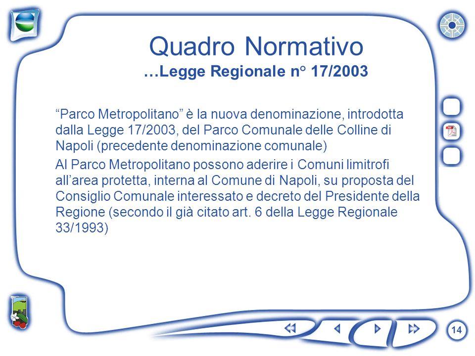 Quadro Normativo …Legge Regionale n° 17/2003