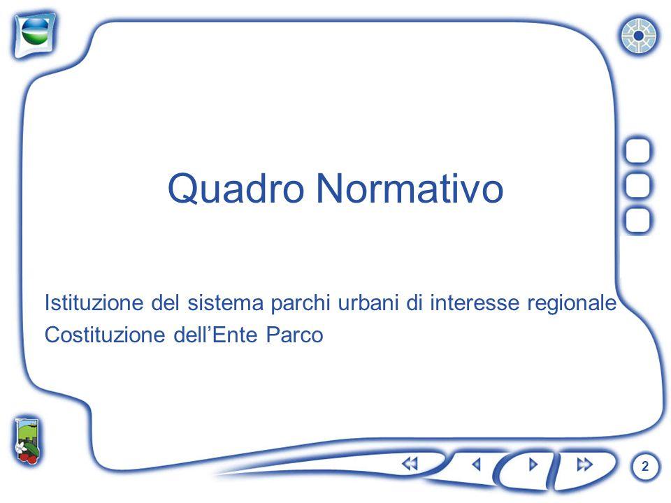 Quadro Normativo Istituzione del sistema parchi urbani di interesse regionale.