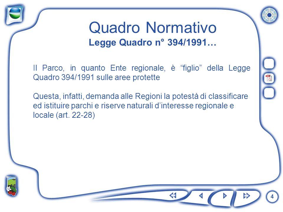Quadro Normativo Legge Quadro n° 394/1991…