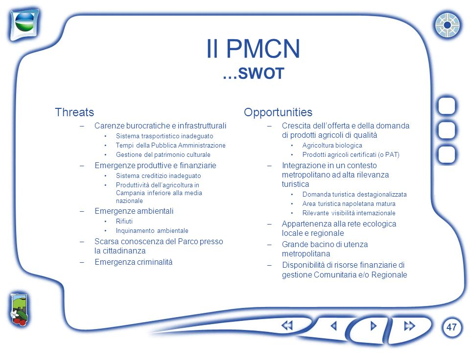 Il PMCN …SWOT Threats Opportunities