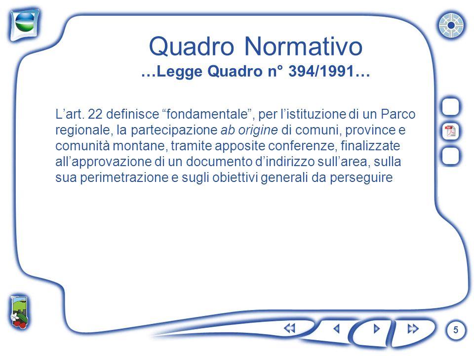 Quadro Normativo …Legge Quadro n° 394/1991…