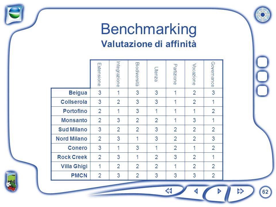 Benchmarking Valutazione di affinità