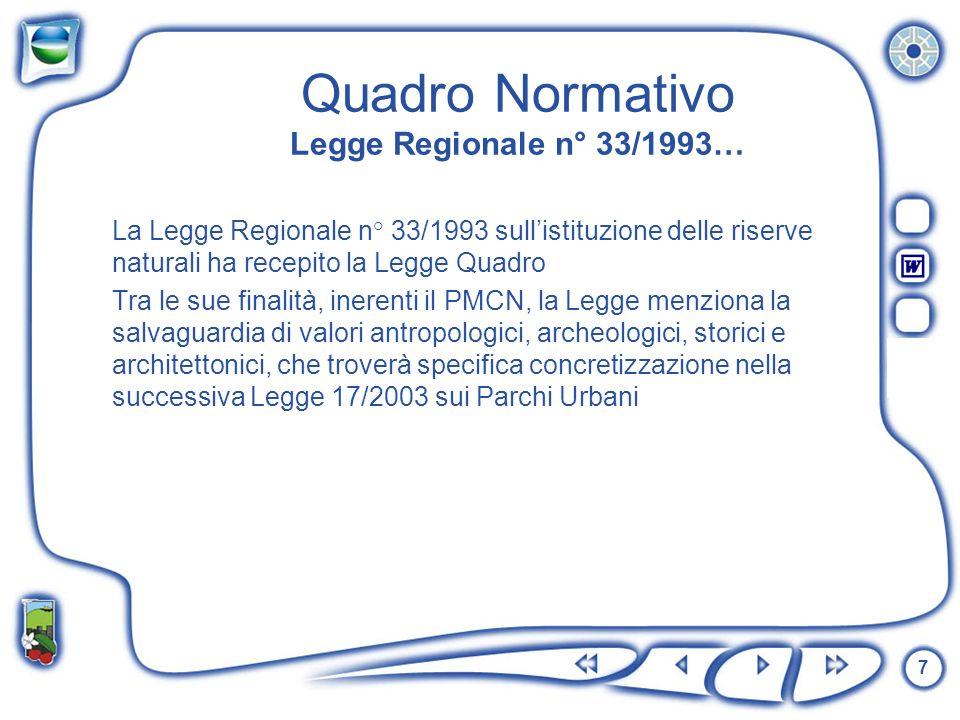 Quadro Normativo Legge Regionale n° 33/1993…
