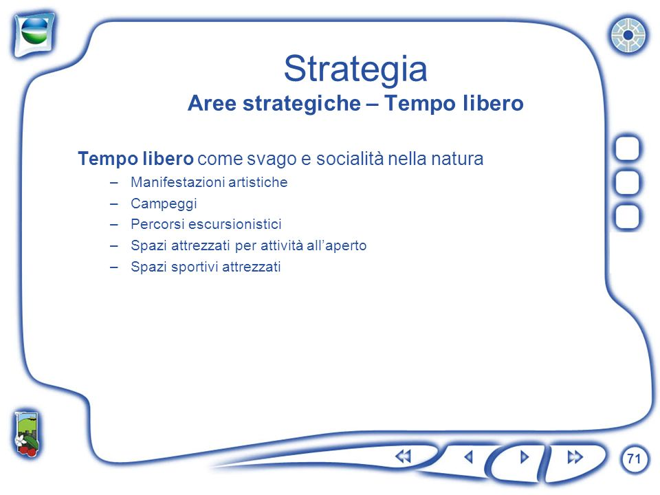 Strategia Aree strategiche – Tempo libero
