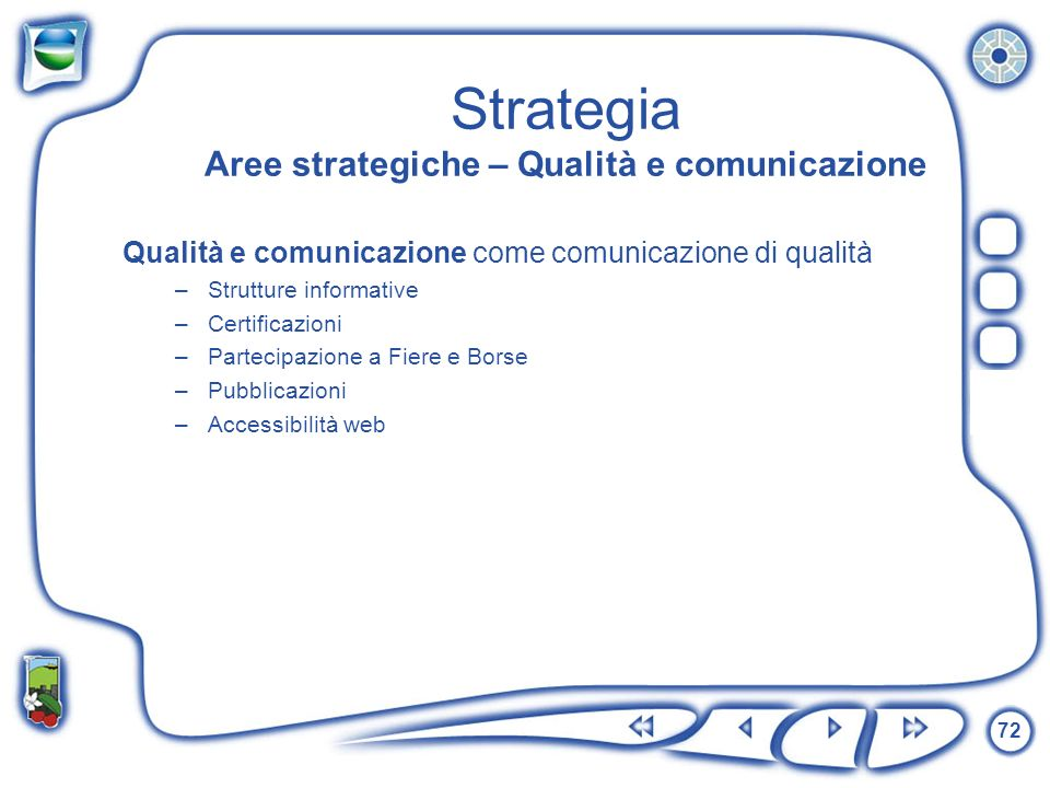 Strategia Aree strategiche – Qualità e comunicazione