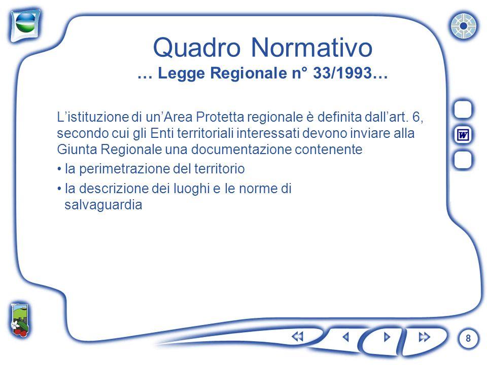 Quadro Normativo … Legge Regionale n° 33/1993…