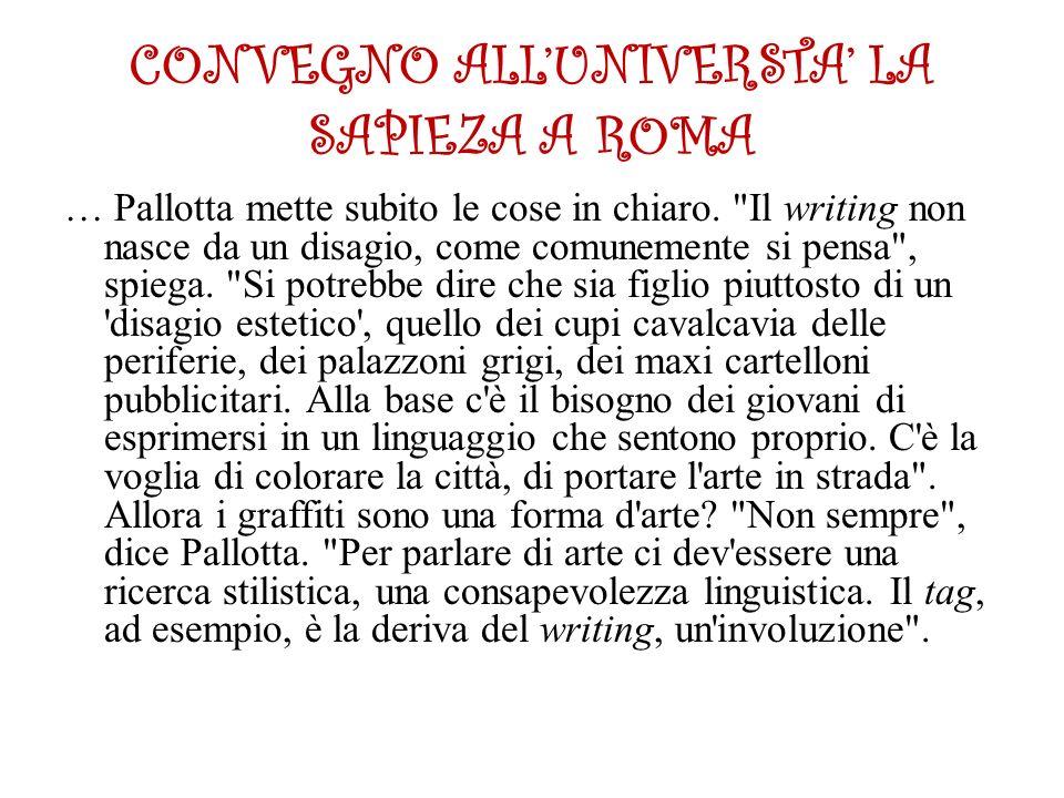 CONVEGNO ALL'UNIVERSTA' LA SAPIEZA A ROMA