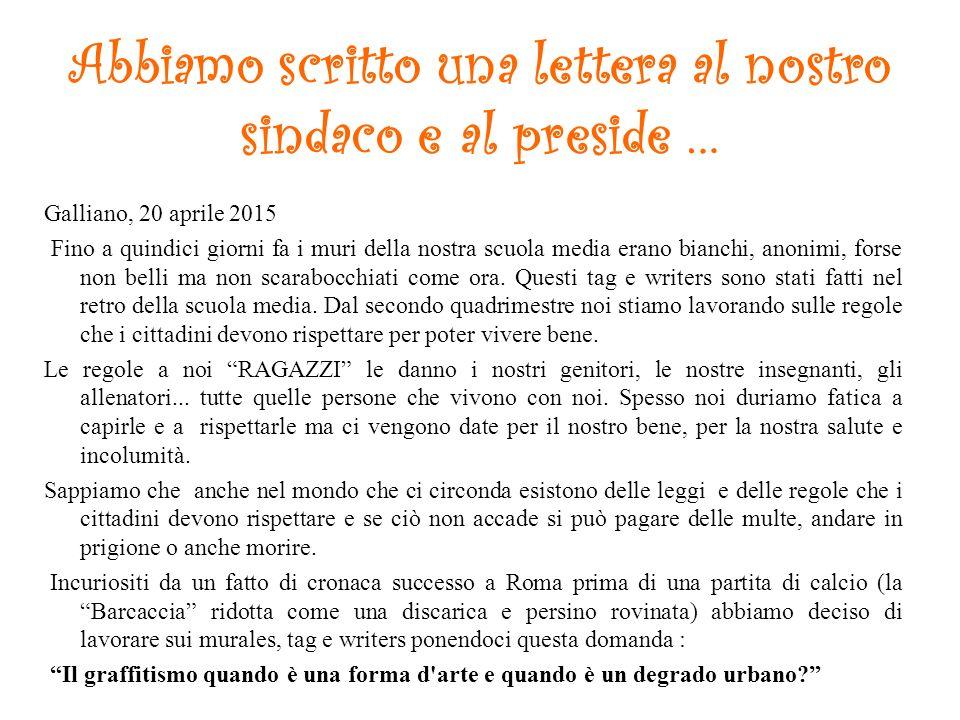 Abbiamo scritto una lettera al nostro sindaco e al preside …