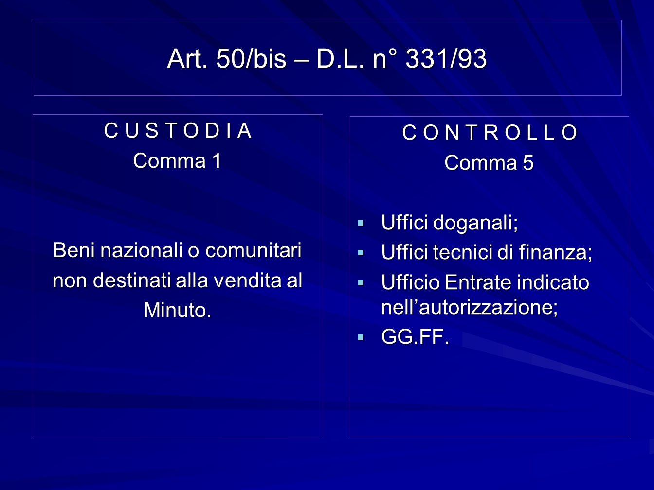 Art. 50/bis – D.L. n° 331/93 C U S T O D I A C O N T R O L L O Comma 1