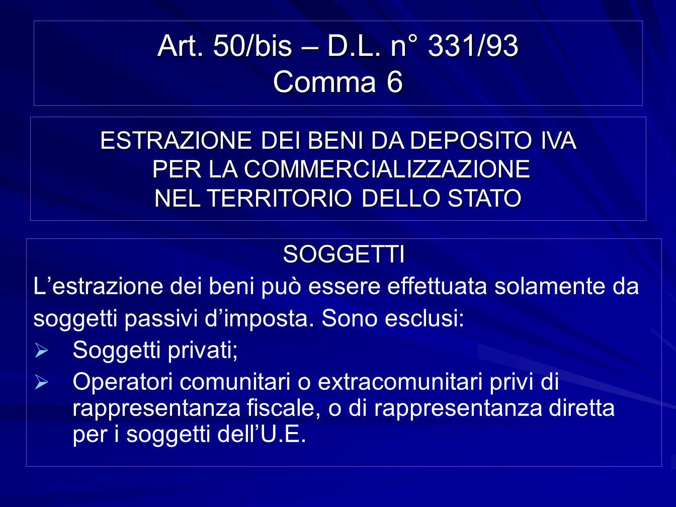 Art. 50/bis – D.L. n° 331/93 Comma 6ESTRAZIONE DEI BENI DA DEPOSITO IVA PER LA COMMERCIALIZZAZIONE NEL TERRITORIO DELLO STATO.