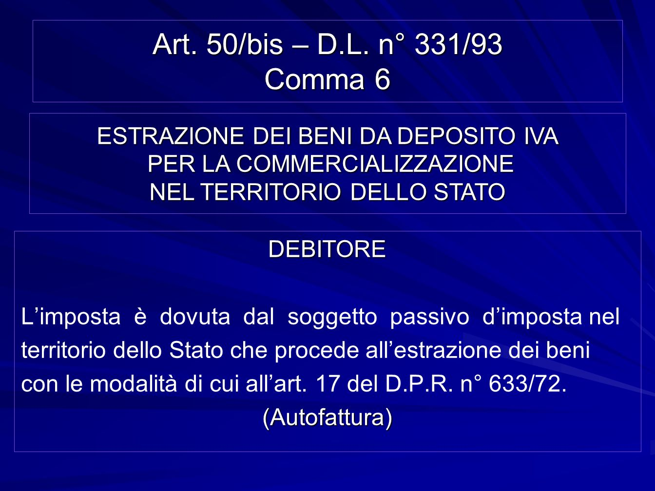 Art. 50/bis – D.L. n° 331/93 Comma 6 ESTRAZIONE DEI BENI DA DEPOSITO IVA PER LA COMMERCIALIZZAZIONE NEL TERRITORIO DELLO STATO.