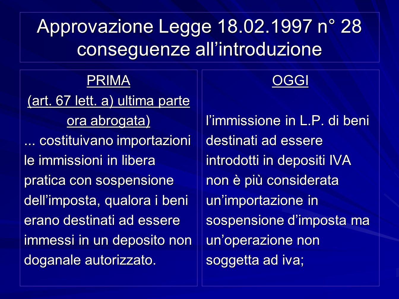 Approvazione Legge 18.02.1997 n° 28 conseguenze all'introduzione