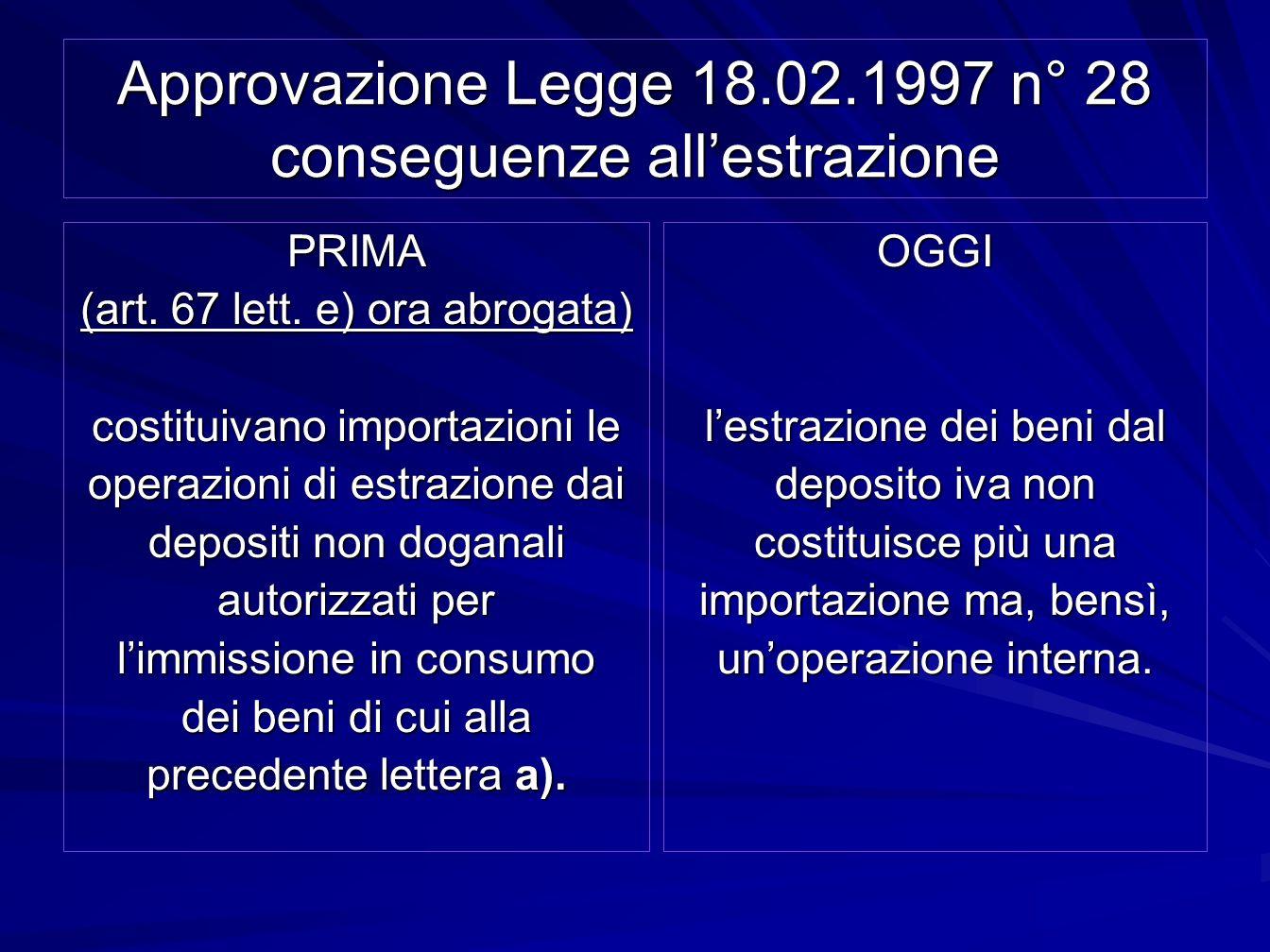 Approvazione Legge 18.02.1997 n° 28 conseguenze all'estrazione