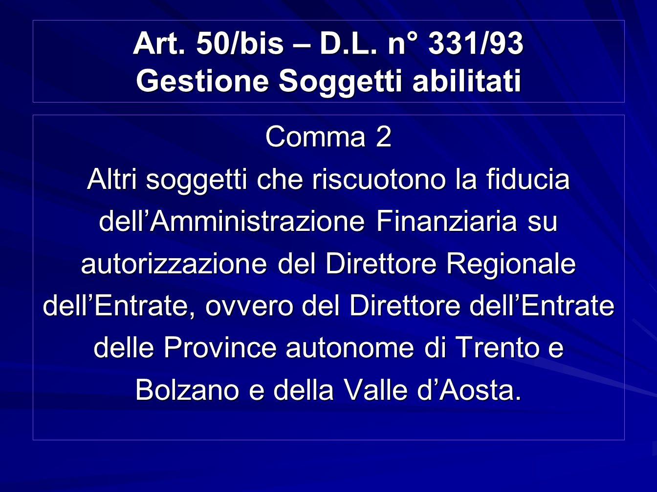Art. 50/bis – D.L. n° 331/93 Gestione Soggetti abilitati