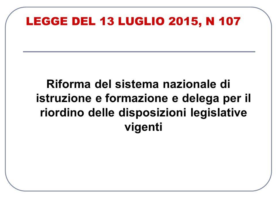 LEGGE DEL 13 LUGLIO 2015, N 107