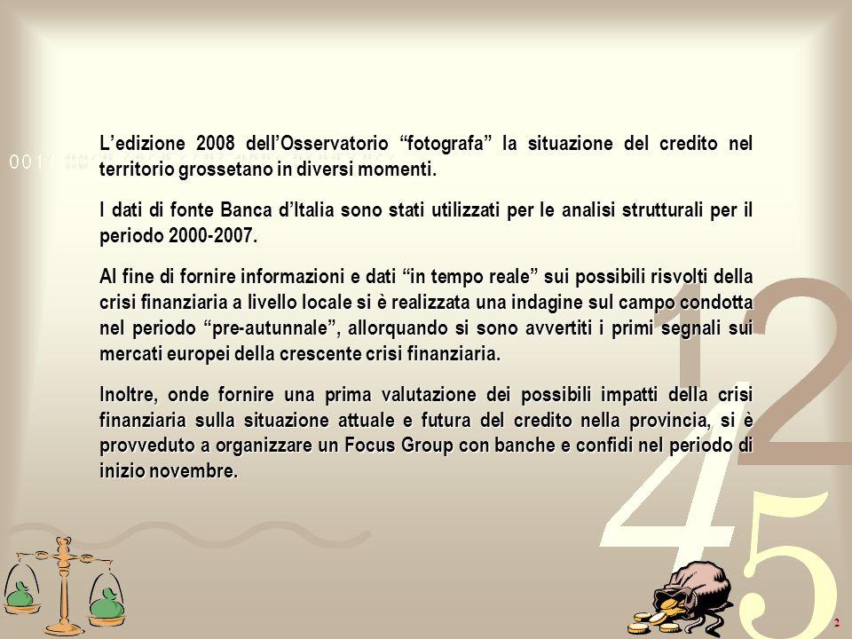 L'edizione 2008 dell'Osservatorio fotografa la situazione del credito nel territorio grossetano in diversi momenti.