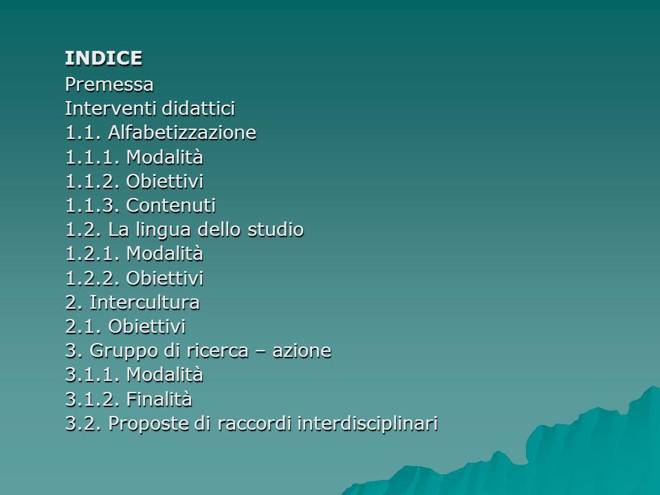 INDICE Interventi didattici 1.1. Alfabetizzazione 1.1.1. Modalità