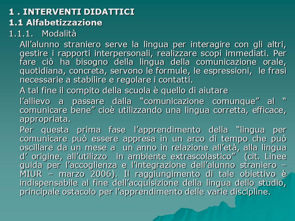 1 . INTERVENTI DIDATTICI 1.1 Alfabetizzazione. 1.1.1. Modalità.