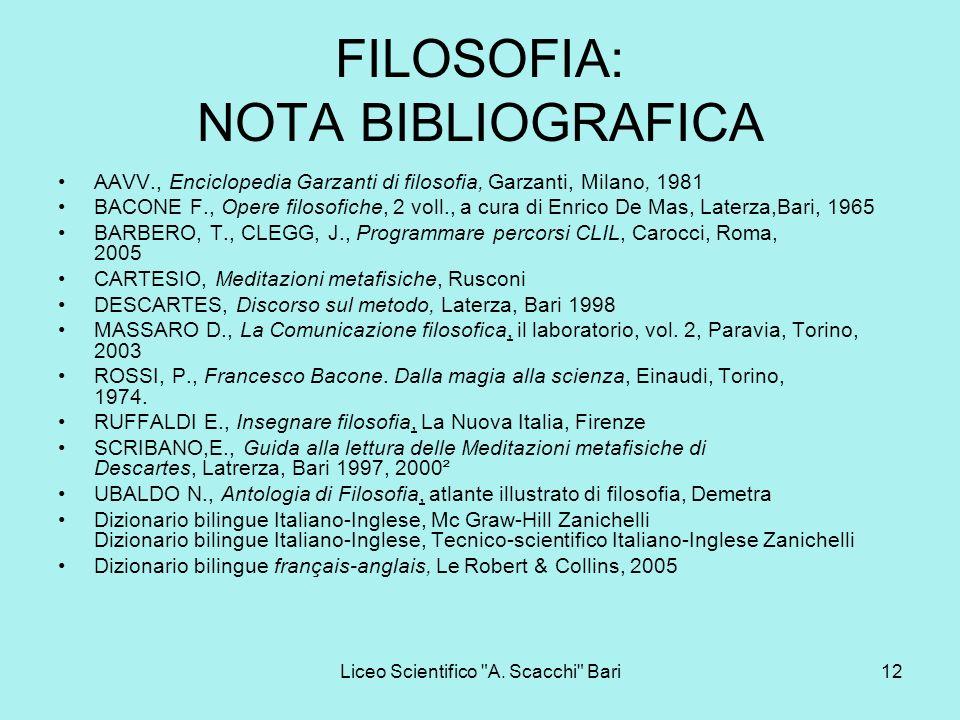 FILOSOFIA: NOTA BIBLIOGRAFICA