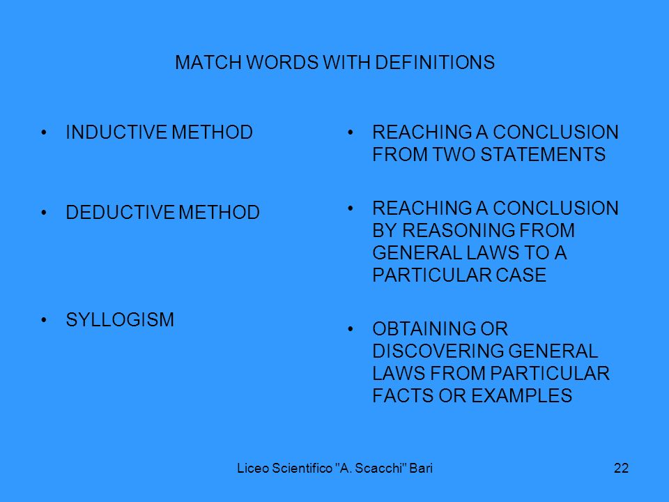 MATCH WORDS WITH DEFINITIONS