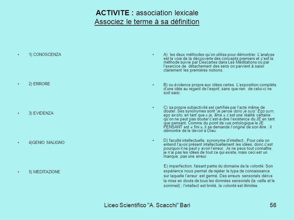 ACTIVITE : association lexicale Associez le terme à sa définition