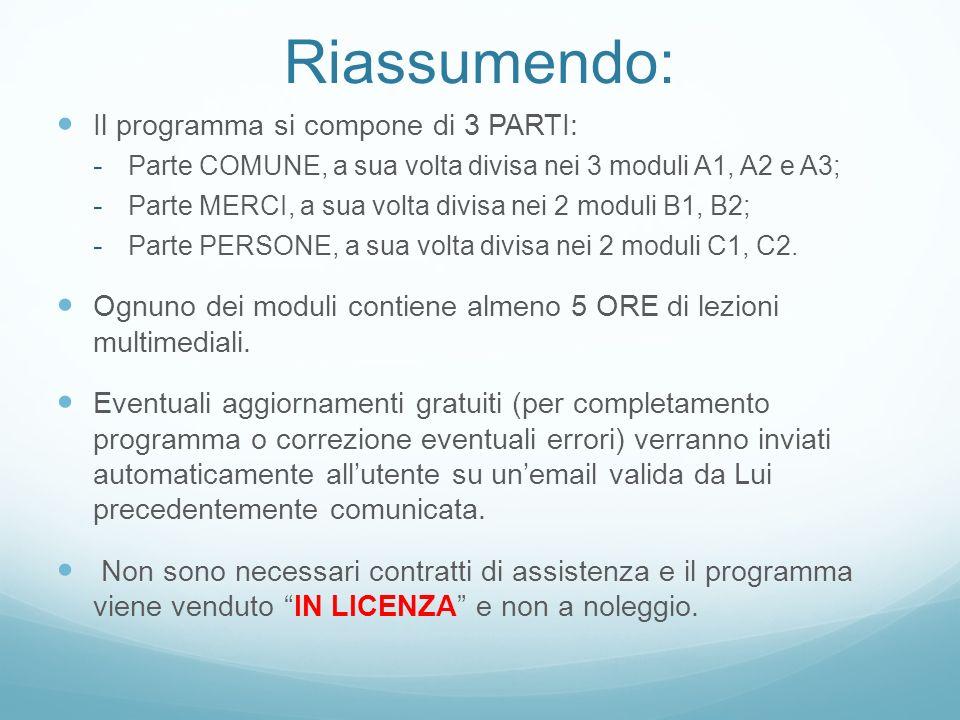 Riassumendo: Il programma si compone di 3 PARTI: