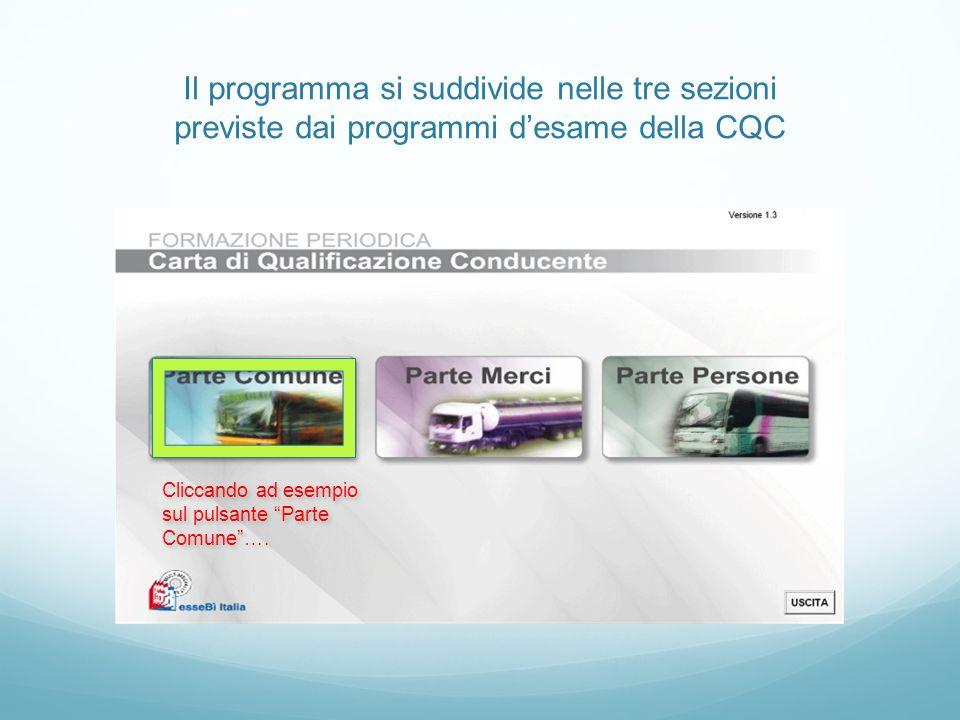 Il programma si suddivide nelle tre sezioni previste dai programmi d'esame della CQC