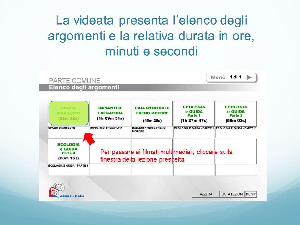 La videata presenta l'elenco degli argomenti e la relativa durata in ore, minuti e secondi
