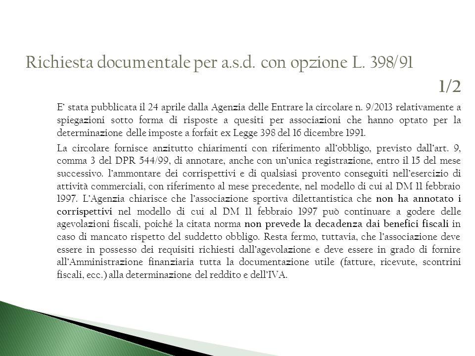 Richiesta documentale per a.s.d. con opzione L. 398/91 1/2