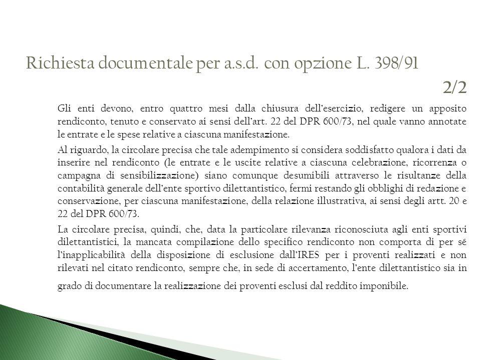 Richiesta documentale per a.s.d. con opzione L. 398/91 2/2
