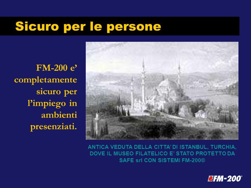 Sicuro per le persone FM-200 e' completamente sicuro per l'impiego in ambienti presenziati. FM-200 does not dilute a room's oxygen level.