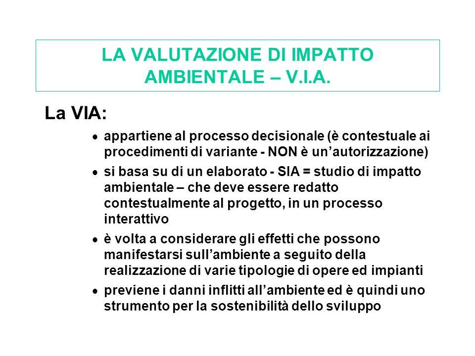 LA VALUTAZIONE DI IMPATTO AMBIENTALE – V.I.A.