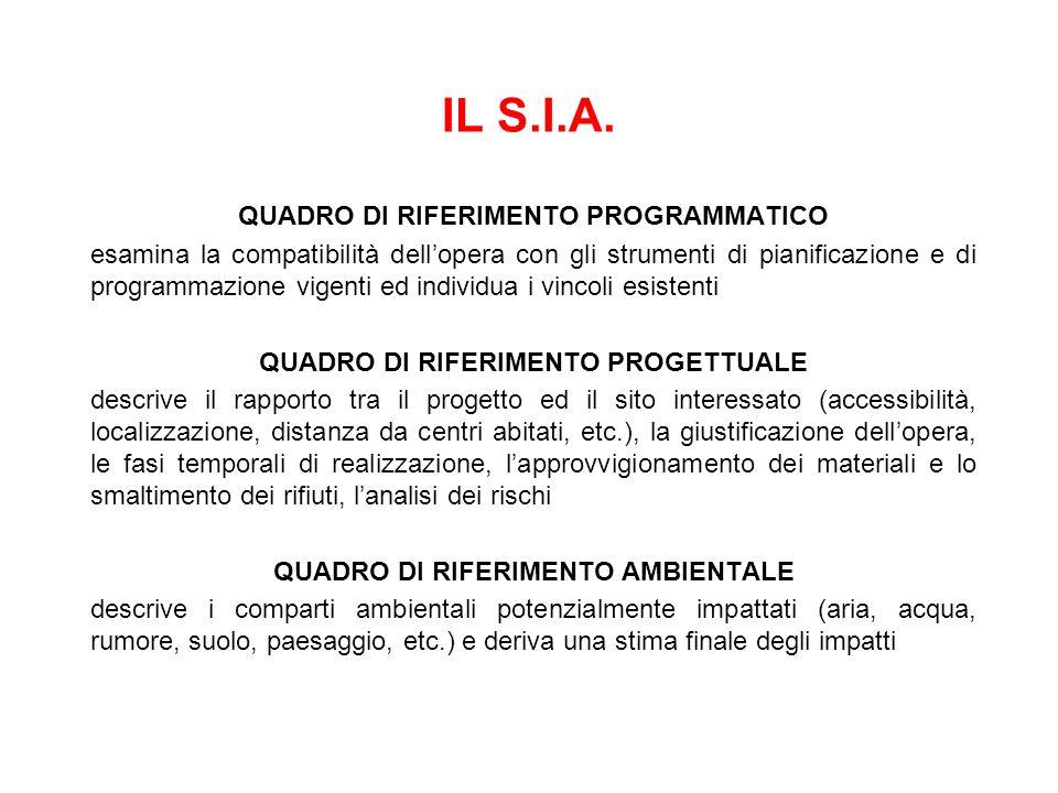 IL S.I.A. QUADRO DI RIFERIMENTO PROGRAMMATICO