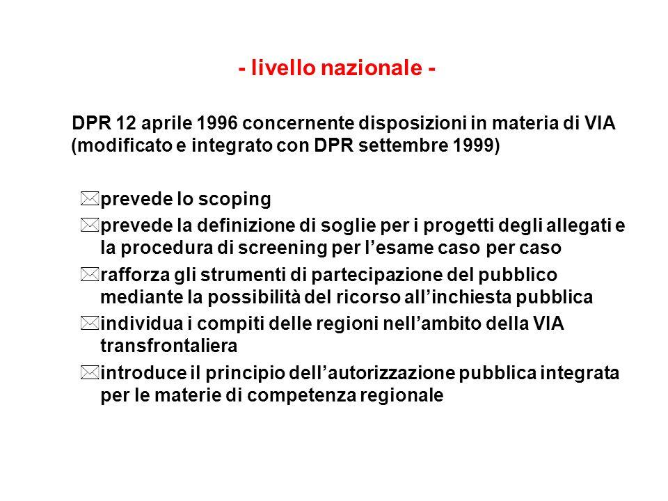 - livello nazionale - DPR 12 aprile 1996 concernente disposizioni in materia di VIA (modificato e integrato con DPR settembre 1999)