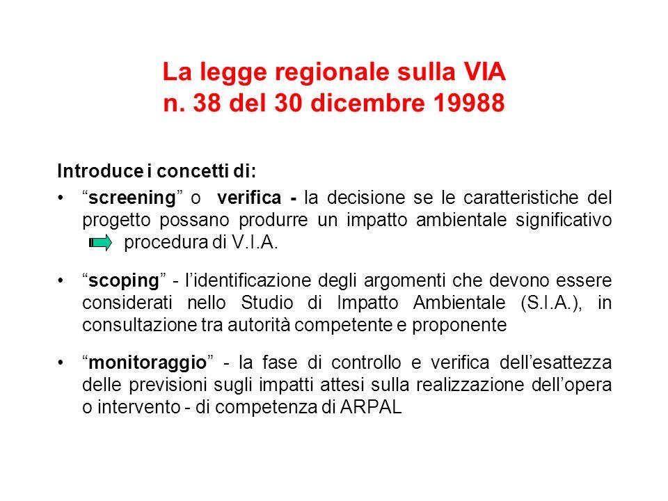 La legge regionale sulla VIA n. 38 del 30 dicembre 19988
