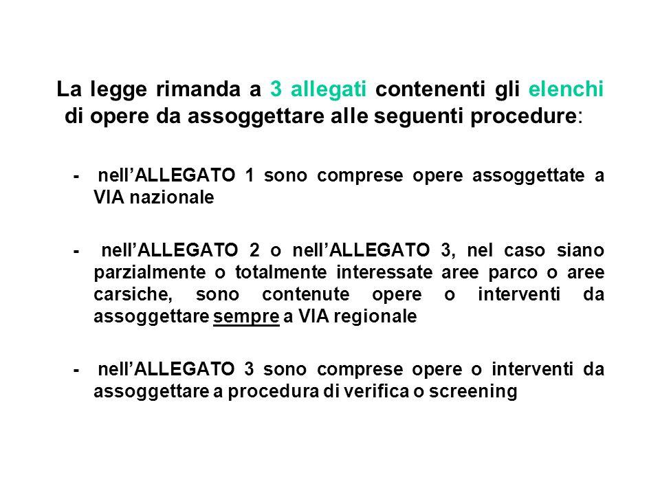 La legge rimanda a 3 allegati contenenti gli elenchi di opere da assoggettare alle seguenti procedure:
