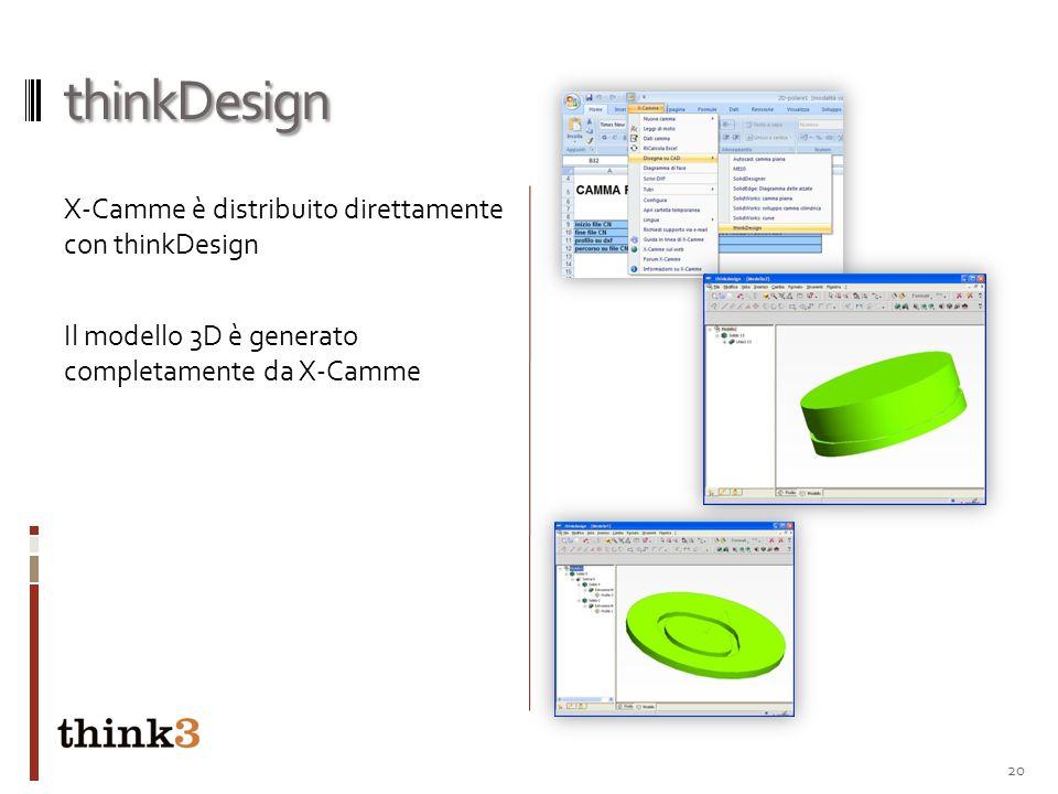 thinkDesignX-Camme è distribuito direttamente con thinkDesign Il modello 3D è generato completamente da X-Camme