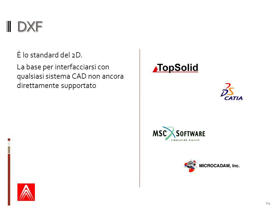 DXF È lo standard del 2D.