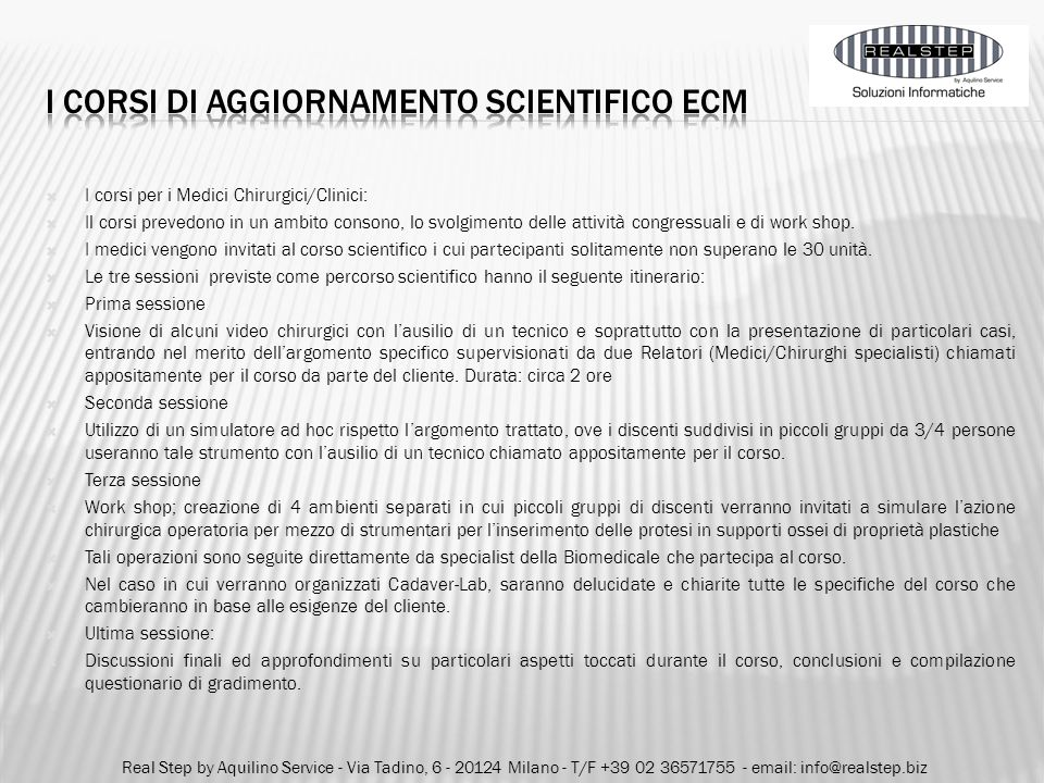 I corsi di aggiornamento scientifico ecm