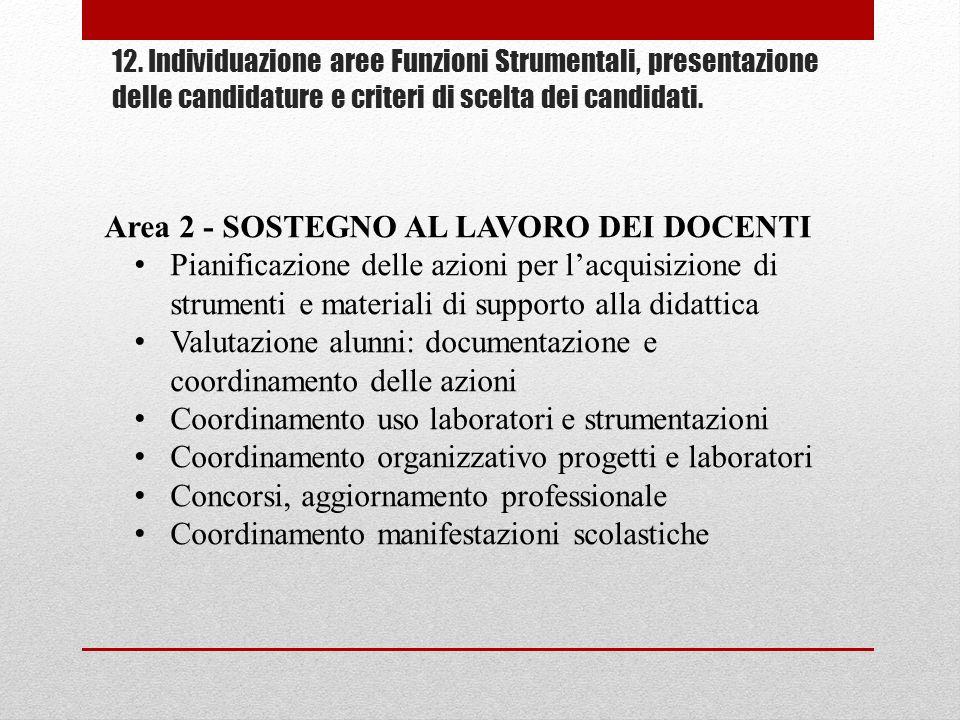 Area 2 - SOSTEGNO AL LAVORO DEI DOCENTI