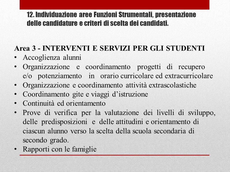 Area 3 - INTERVENTI E SERVIZI PER GLI STUDENTI Accoglienza alunni