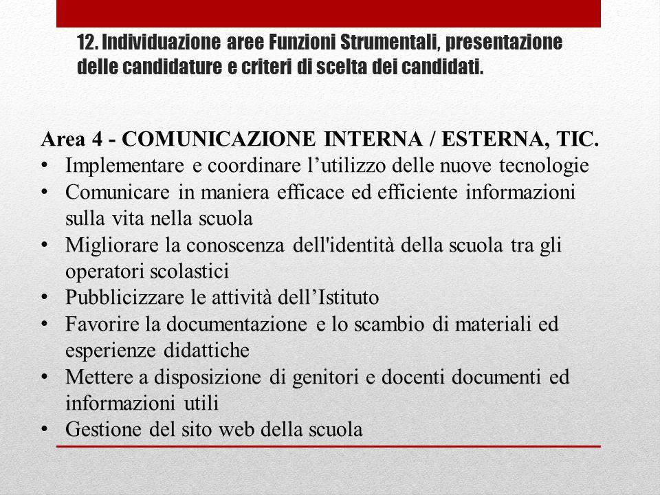 Area 4 - COMUNICAZIONE INTERNA / ESTERNA, TIC.