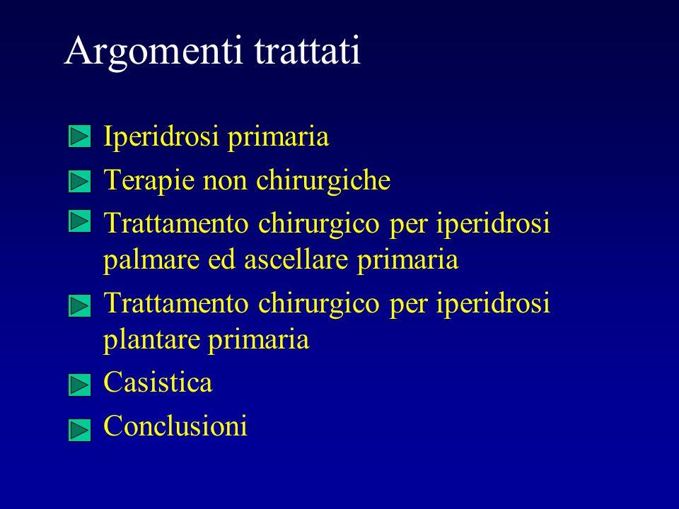 Argomenti trattati Iperidrosi primaria Terapie non chirurgiche