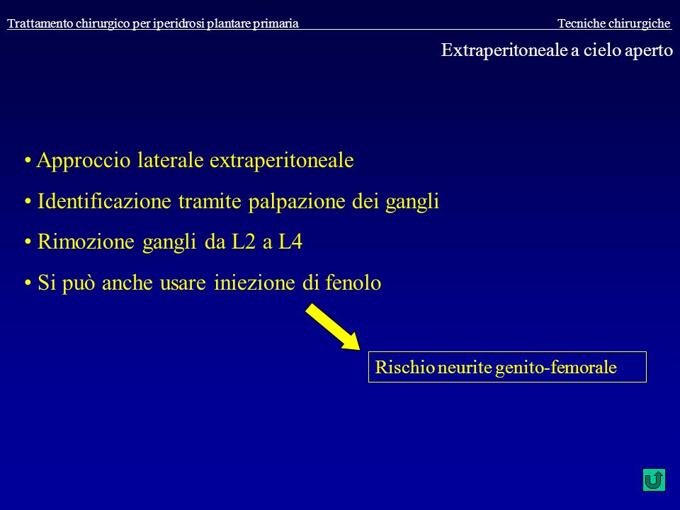 Approccio laterale extraperitoneale