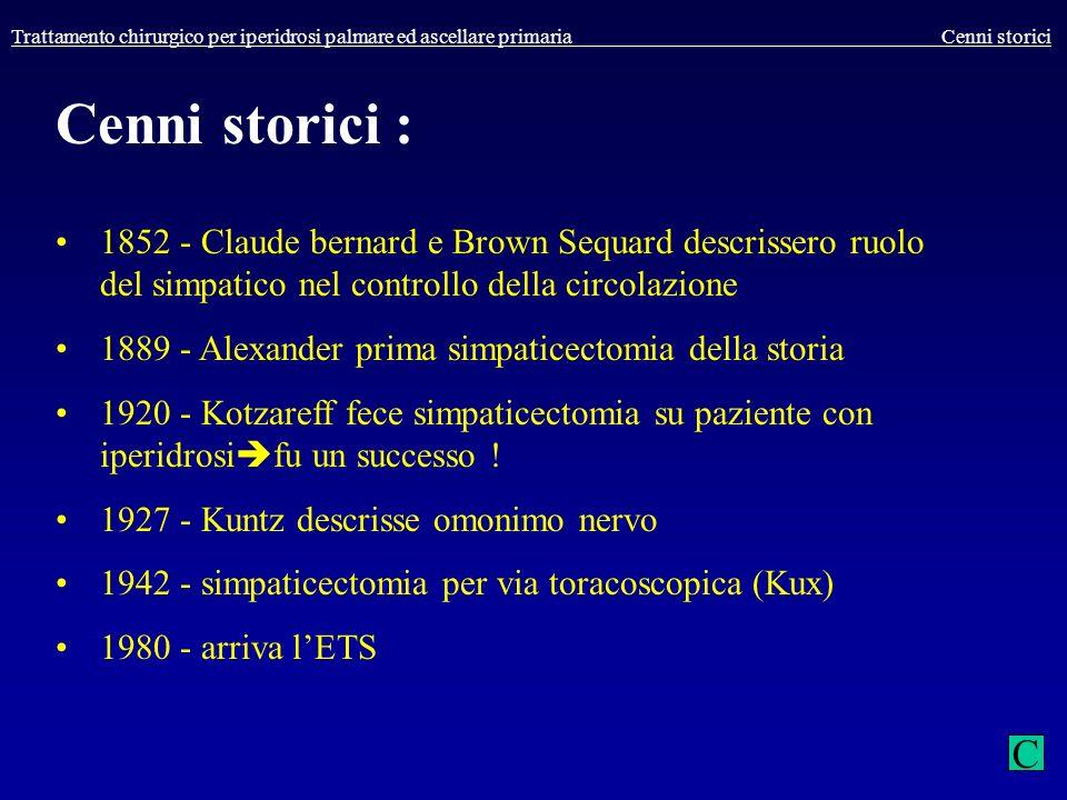 Trattamento chirurgico per iperidrosi palmare ed ascellare primaria Cenni storici