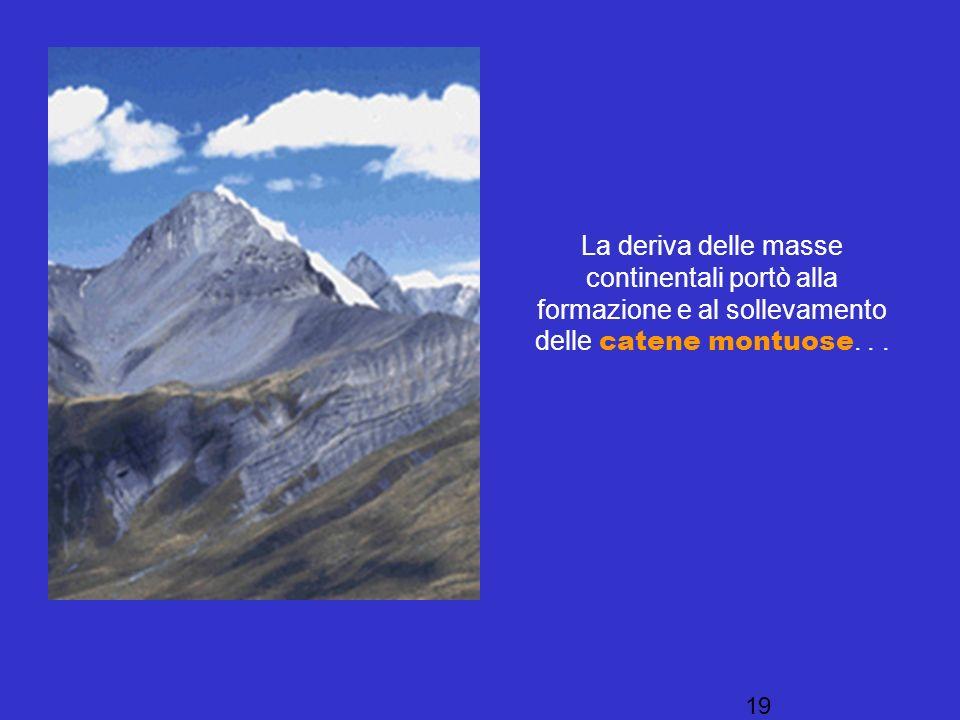 La deriva delle masse continentali portò alla formazione e al sollevamento delle catene montuose.