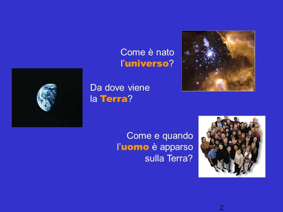 Come è nato l'universo Da dove viene la Terra Come e quando l'uomo è apparso sulla Terra