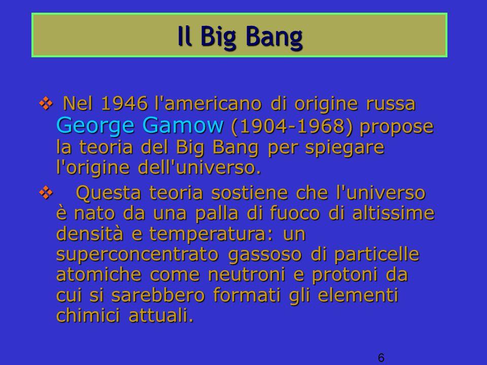 Il Big Bang Nel 1946 l americano di origine russa George Gamow (1904-1968) propose la teoria del Big Bang per spiegare l origine dell universo.