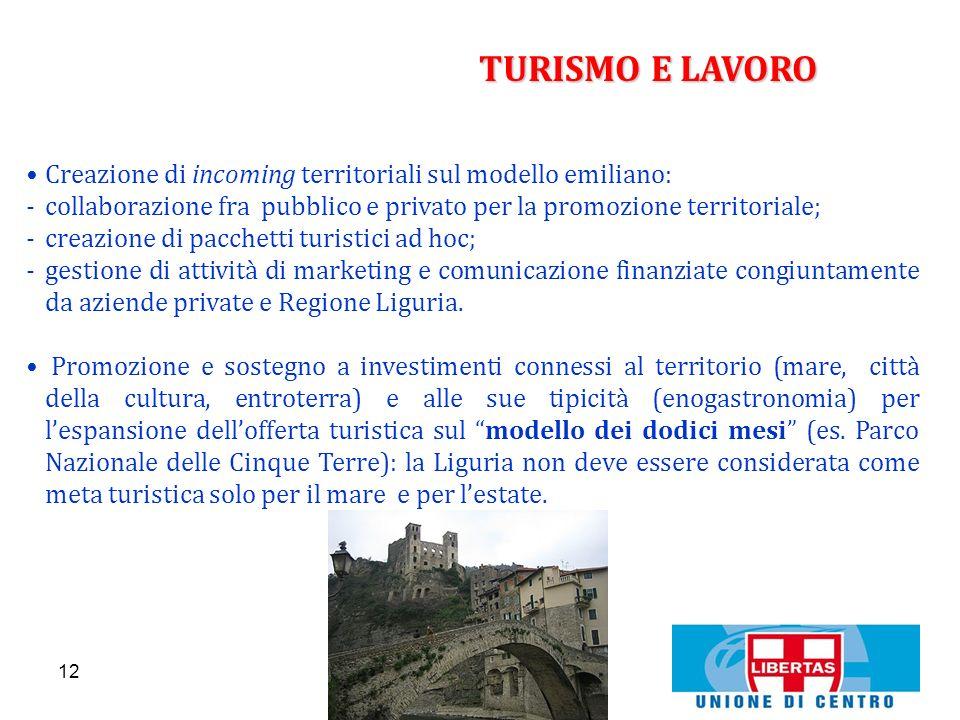TURISMO E LAVOROCreazione di incoming territoriali sul modello emiliano: collaborazione fra pubblico e privato per la promozione territoriale;